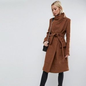 ASOS Wool Blend Funnel Neck Tie Coat